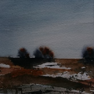 Tre träd i horisonten