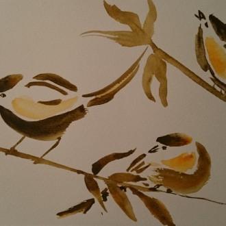 Tre små fåglar på en gren     Såld
